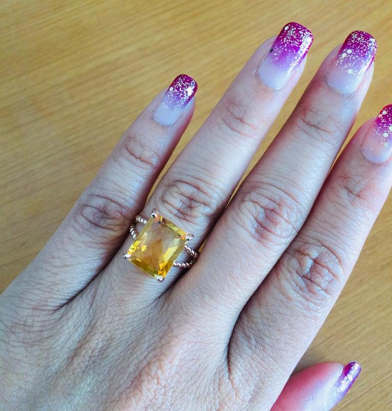 Women's 4.99 Carat Emerald Cut Citrine Quartz Rose Gold Ring