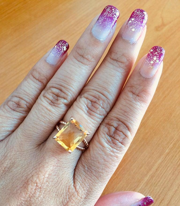 4.99 Carat Emerald Cut Citrine Quartz Rose Gold Ring 1
