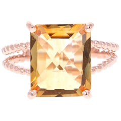 4.99 Carat Emerald Cut Citrine Quartz Rose Gold Ring