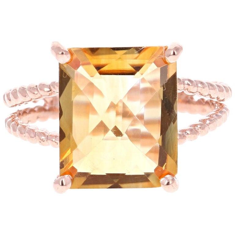 4.99 Carat Emerald Cut Citrine Quartz Rose Gold Ring