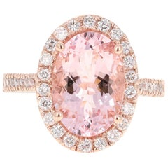 4.99 Carat Pink Morganite Diamond 14 Karat Rose Gold Bridal Ring