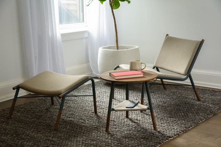 Powder-Coated 49N Coffee Table, Melton Wool and Eco-Friendly Powder Coated Steel Frame For Sale