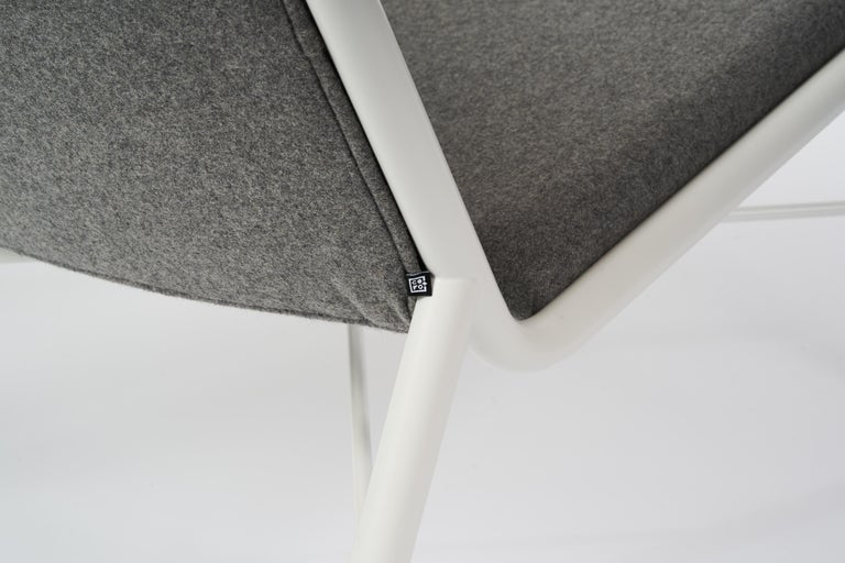 Powder-Coated 49N Lounge Chair, Melton Wool and Eco-Friendly Powder Coated Steel Frame For Sale