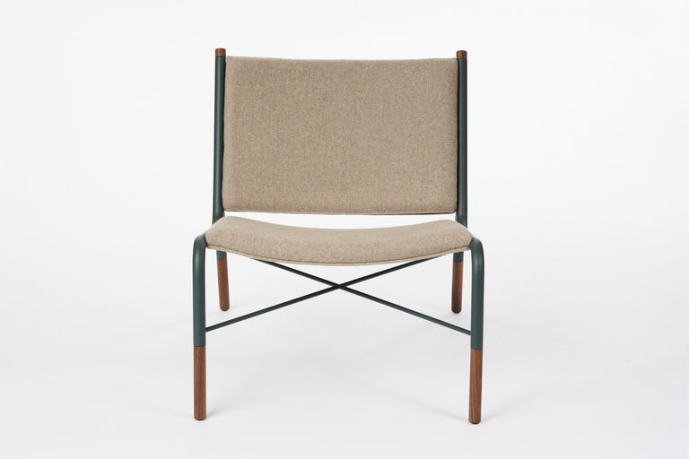 Oiled 49N Lounge Chair, Melton Wool and Eco-Friendly Powder Coated Steel Frame For Sale
