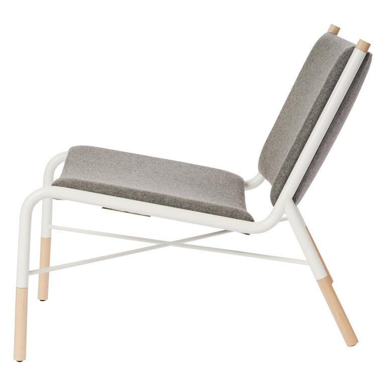 49N Lounge Chair, Melton Wool and Eco-Friendly Powder Coated Steel Frame For Sale