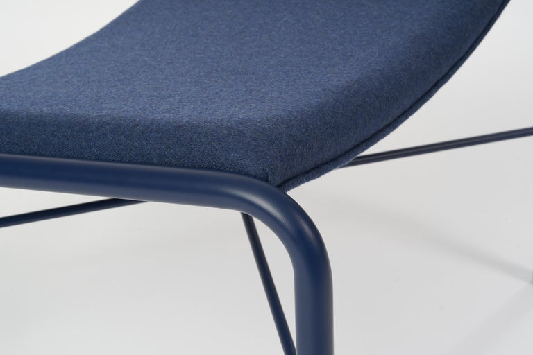 Canadian 49N Lounge Chair Ottoman, Melton Wool and Eco-Friendly Powder Coated Steel Frame For Sale