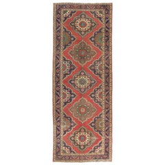 Traditional Vintage Handmade Oushak Wool Runner Rug in Red and Indigo