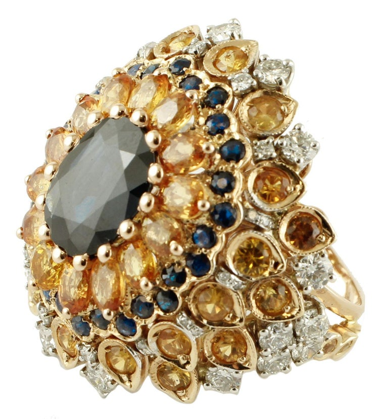 Retro 4ct Central Blue Sapphire, Blue and Yellow Sapphires, Diamonds, Rose Gold Ring For Sale