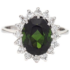 4Ct Green Tourmaline Diamond Ring Estate 14k White Gold Gemstone Engagement
