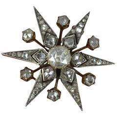 4ct Rose Cut Diamond Spread 15ct Rose Gold Star Brooch