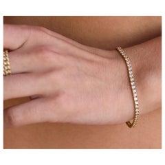 4ctw Classic Diamond Tennis Bracelet, D-F Color, VVS1-2 Clarity, Yellow Gold