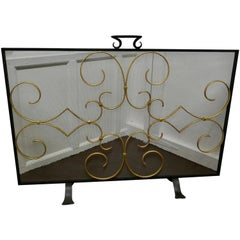 Iron and Gilt Fire Guard for Inglenook Fireplace