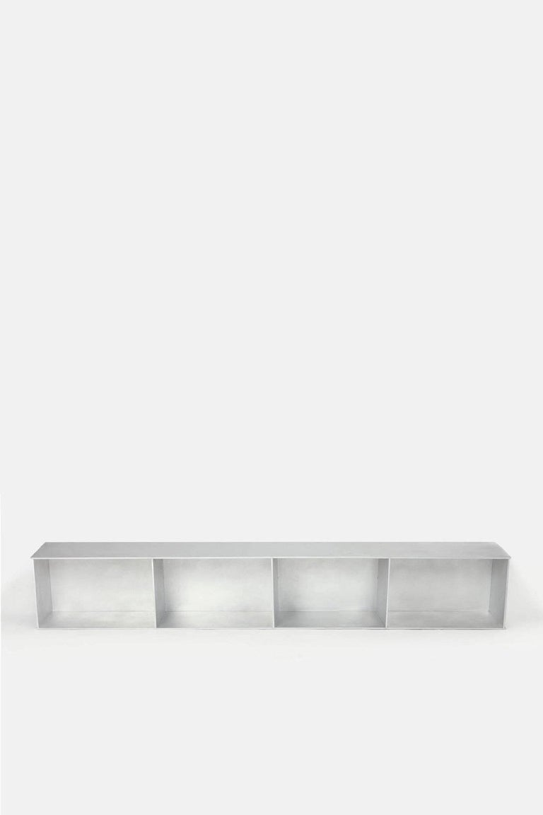 4G Wall-Mounted Shelf in Waxed Aluminum Plate by Jonathan Nesci In New Condition For Sale In Columbus, IN