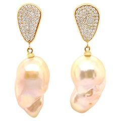 4K Yellow Gold Baroque Pearl and Diamond Drop Earrings