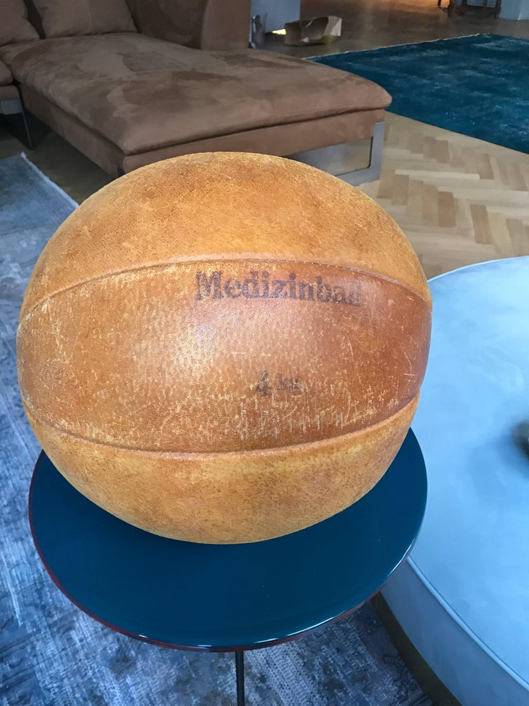 Bauhaus Vintage Leather Medicine Ball, 1930s Germany For Sale