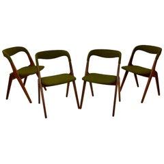 "4 Vamo / Johannes Andersen ""Sonja"" Midcentury Teak Dining Chair, Denmark, 1950s"