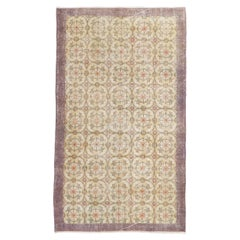 Vintage Distressed Hand-Knotted Floral Turkish Wool Accent Rug