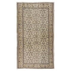 4x6.9 Ft Vintage Floral Distressed Hand-Knotted Wool Accent Rug in Brown, Beige