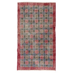 Vintage Handmade Turkish Accent Rug with All-Over Floral Design. 4 x 7 ft