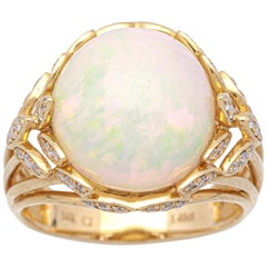 5 1/2 Carat Ethiopian Opal and Diamond 14 Karat Art Deco Style Ring