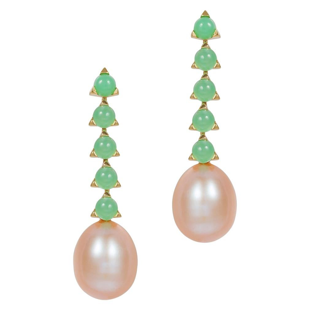 5- 3 mm Stone Baroque Pearl drop Earrings, Green Chrysoprase, 18k yellow gold