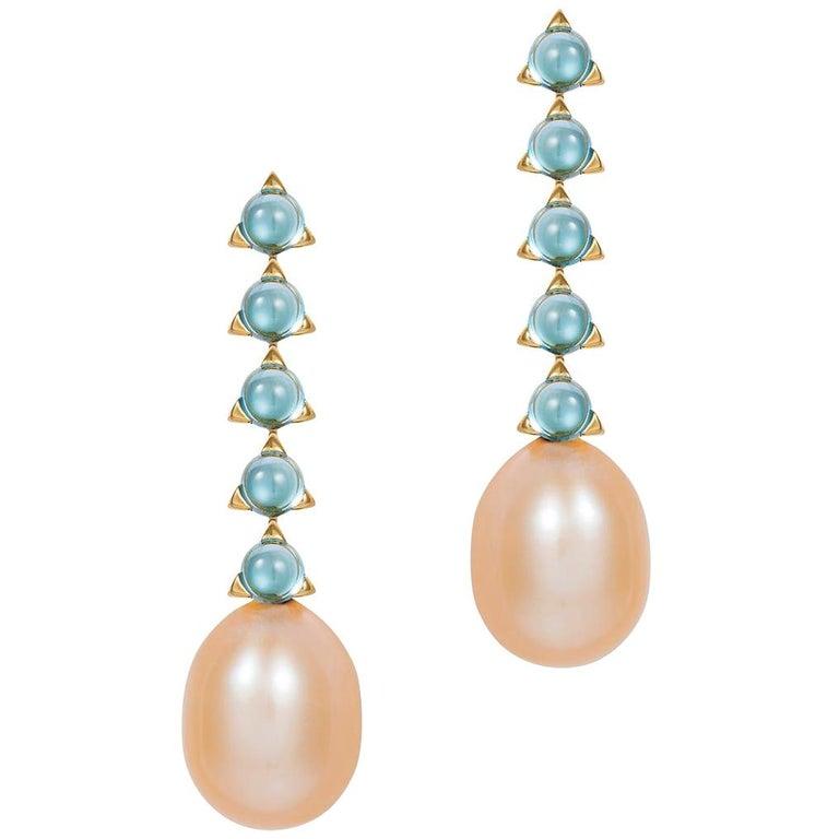 f4f04f406 5- 3 mm Stone Baroque Pink Pearl Earrings, Swiss Blue Topaz, 18 K ...