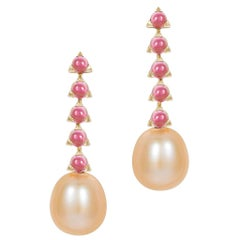 5- 3mm Stone Baroque Pink Pearl Earrings, Pink Tourmaline, 18 Karat Yellow Gold