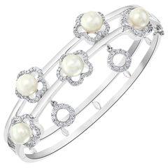 5 Akoya Pearl and 1.5 Carat Diamond Bangle in 18 Karat White Gold Estate, 41 Gm