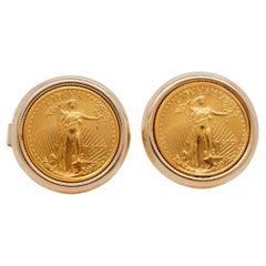 $5 American Gold Eagle Coin Cufflinks