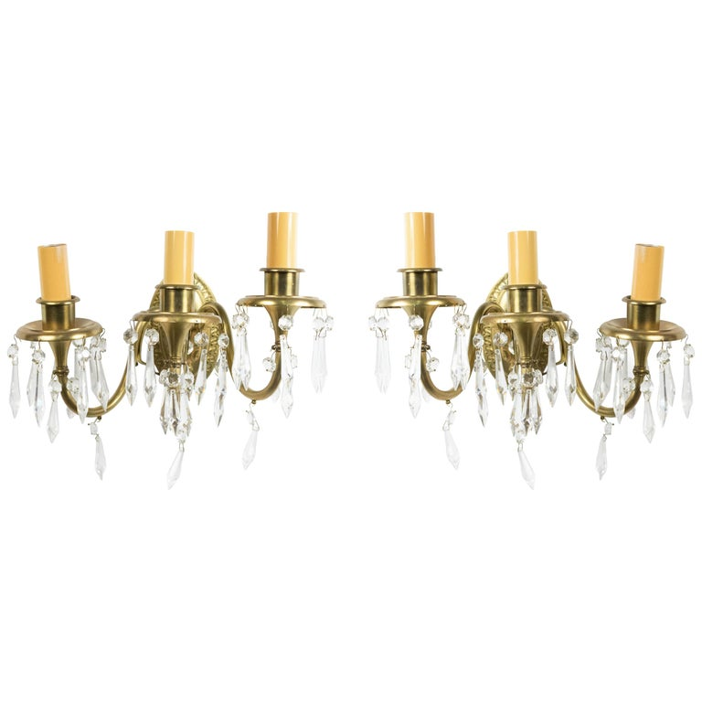 5 American Victorian Style Bronze Wall Sconces For Sale