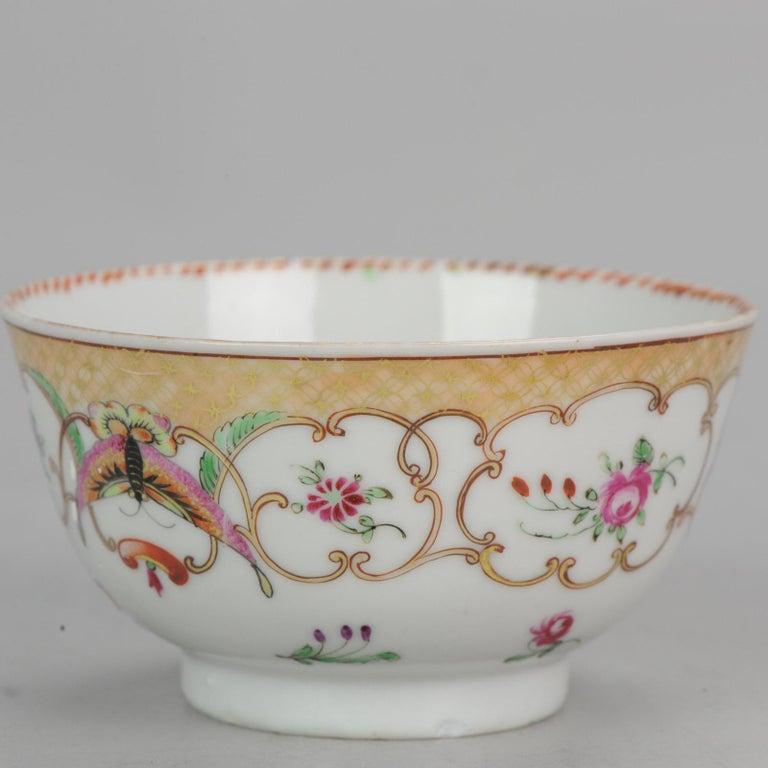 5# Antique Chinese, Qianlong 1760, Tea Bowl, Butterfly, Porcelain, Qing For Sale 6