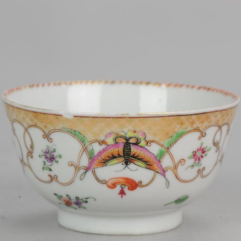 5# Antique Chinese, Qianlong 1760, Tea Bowl, Butterfly, Porcelain, Qing For Sale 7