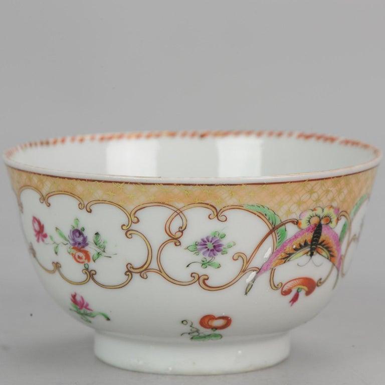5# Antique Chinese, Qianlong 1760, Tea Bowl, Butterfly, Porcelain, Qing For Sale 9