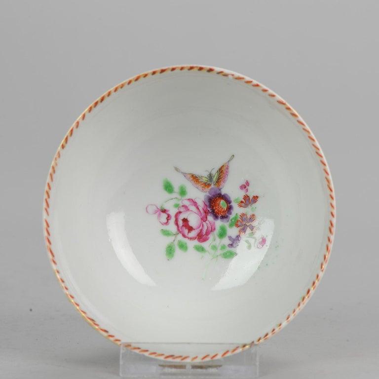5# Antique Chinese, Qianlong 1760, Tea Bowl, Butterfly, Porcelain, Qing For Sale 10