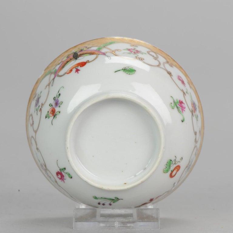 5# Antique Chinese, Qianlong 1760, Tea Bowl, Butterfly, Porcelain, Qing For Sale 11