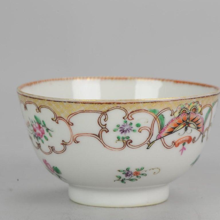 5# Antique Chinese, Qianlong 1760, Tea Bowl, Butterfly, Porcelain, Qing For Sale 12