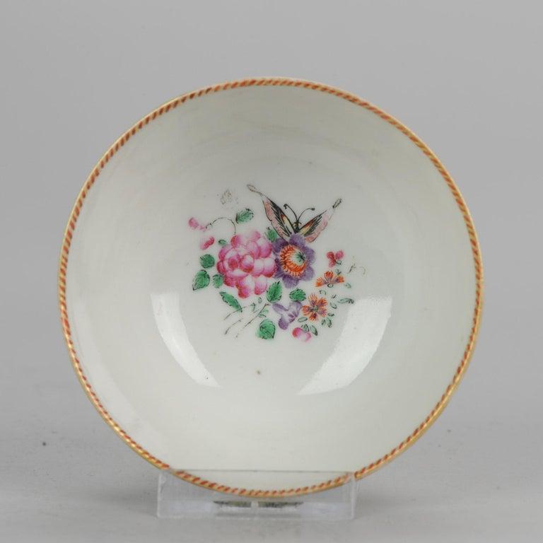 5# Antique Chinese, Qianlong 1760, Tea Bowl, Butterfly, Porcelain, Qing For Sale 13