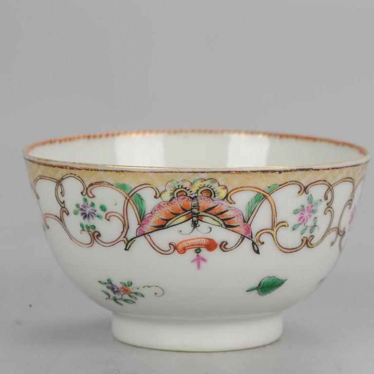 5# Antique Chinese, Qianlong 1760, Tea Bowl, Butterfly, Porcelain, Qing For Sale 14