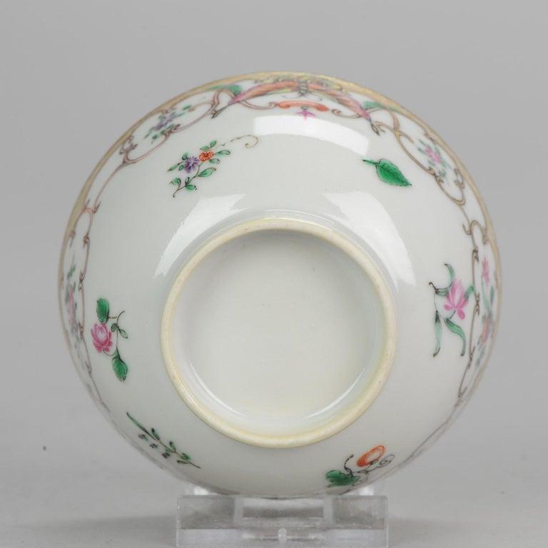 5# Antique Chinese, Qianlong 1760, Tea Bowl, Butterfly, Porcelain, Qing For Sale 15
