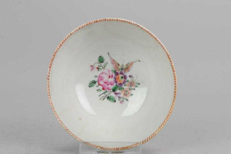 5# Antique Chinese, Qianlong 1760, Tea Bowl, Butterfly, Porcelain, Qing For Sale 16