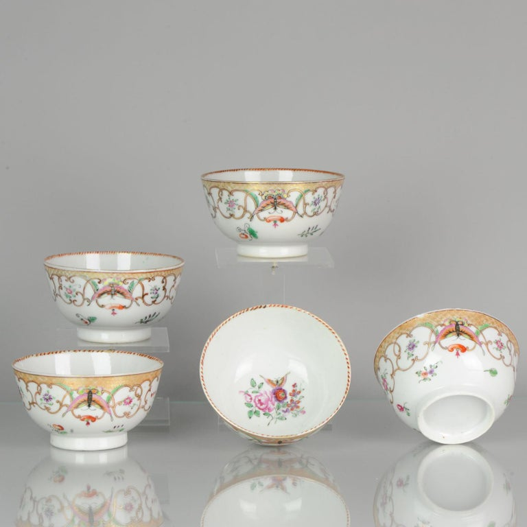 5# Antique Chinese, Qianlong 1760, Tea Bowl, Butterfly, Porcelain, Qing In Good Condition For Sale In Amsterdam, Noord Holland
