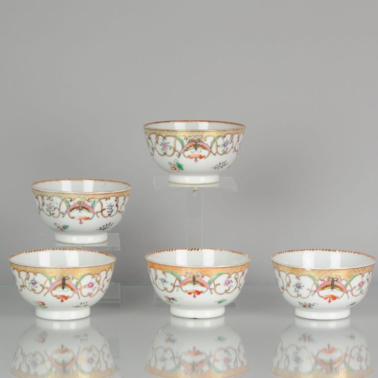 18th Century and Earlier 5# Antique Chinese, Qianlong 1760, Tea Bowl, Butterfly, Porcelain, Qing For Sale