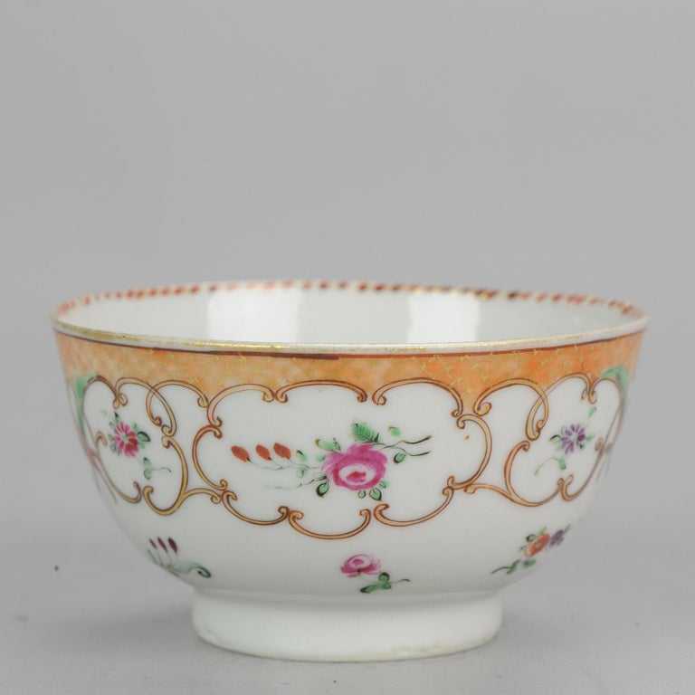 5# Antique Chinese, Qianlong 1760, Tea Bowl, Butterfly, Porcelain, Qing For Sale 1