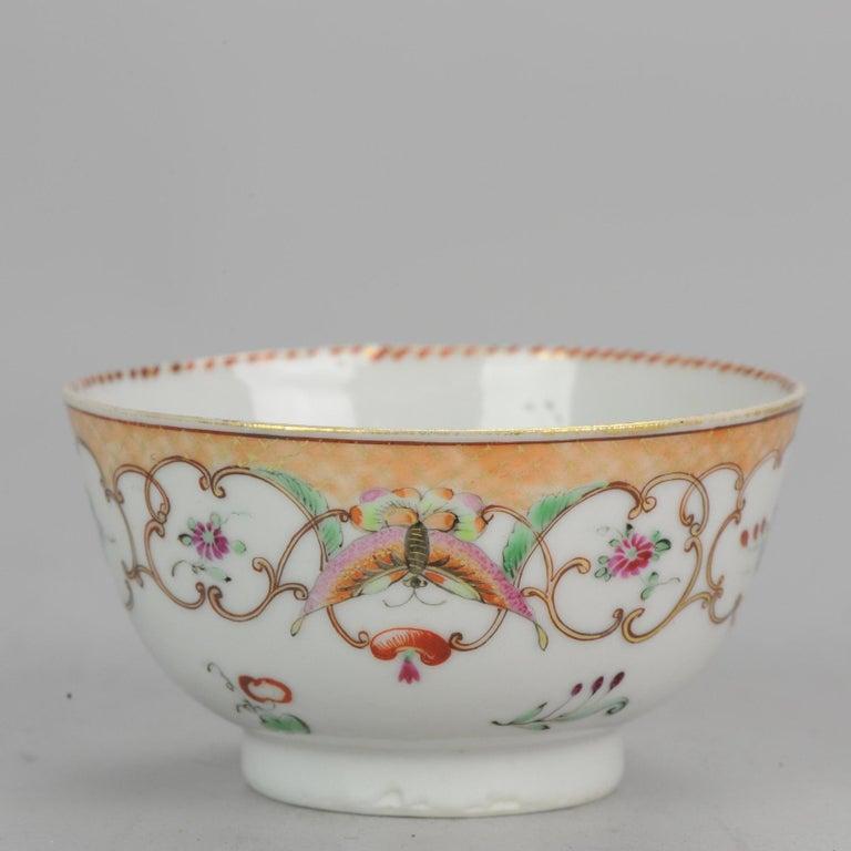 5# Antique Chinese, Qianlong 1760, Tea Bowl, Butterfly, Porcelain, Qing For Sale 2