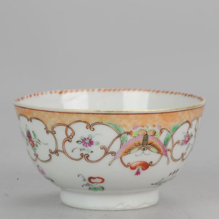 5# Antique Chinese, Qianlong 1760, Tea Bowl, Butterfly, Porcelain, Qing For Sale 3