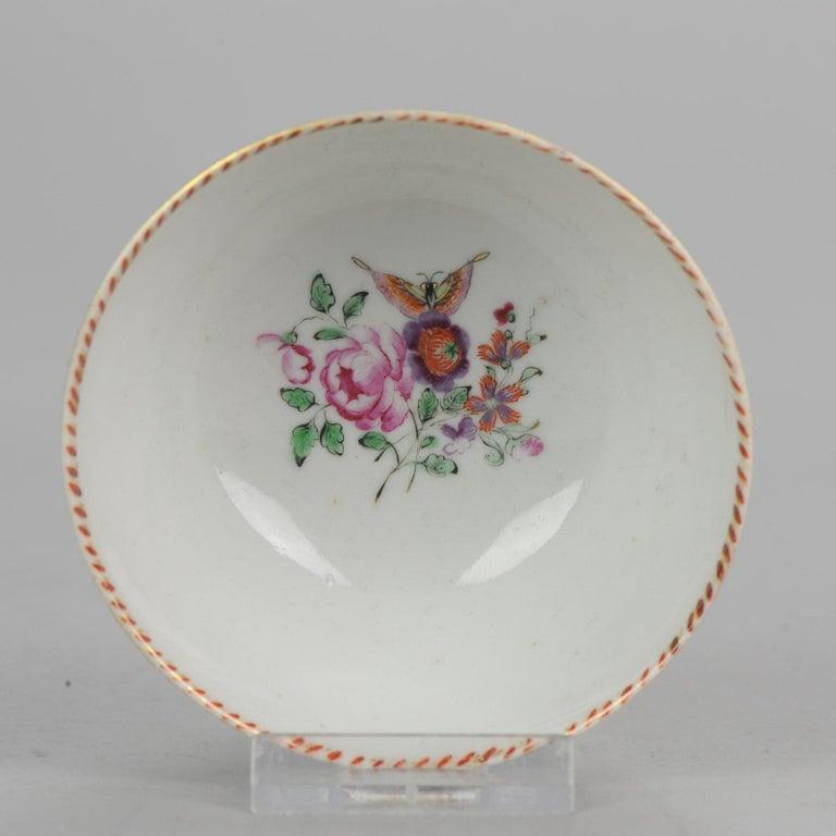 5# Antique Chinese, Qianlong 1760, Tea Bowl, Butterfly, Porcelain, Qing For Sale 4