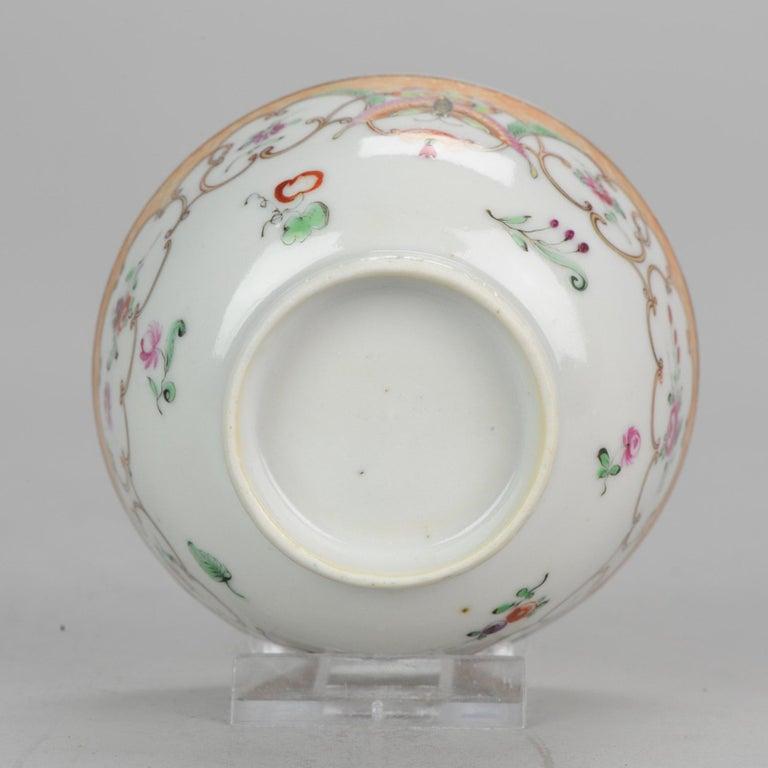 5# Antique Chinese, Qianlong 1760, Tea Bowl, Butterfly, Porcelain, Qing For Sale 5