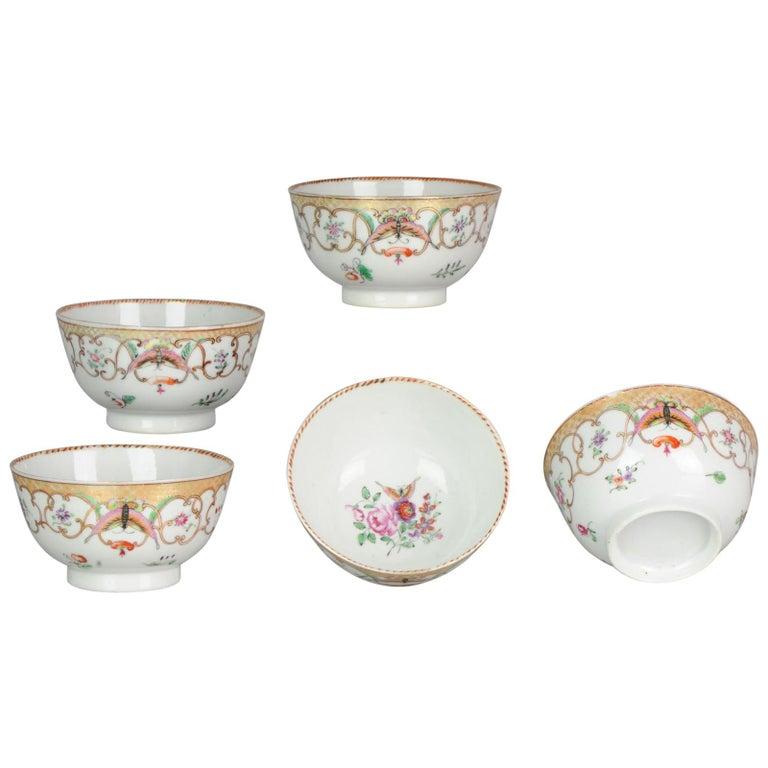 5# Antique Chinese, Qianlong 1760, Tea Bowl, Butterfly, Porcelain, Qing For Sale