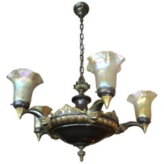 5-Arm Continental Chandelier with 5 Hand Blown Glass Shades, circa 1910