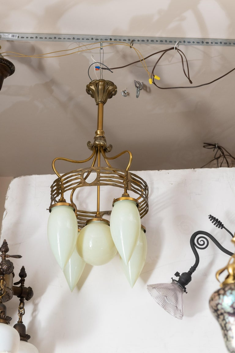 Austrian 5-Arm Vienna Secessionist Chandelier, with Hand Blown Glass, Modernism in 1910 For Sale